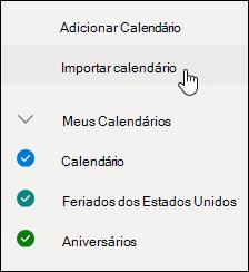 Uma captura de tela do botão de calendários descobrir