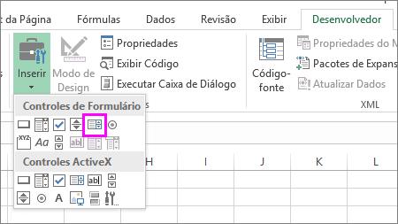 o botão Caixa de Listagem (Controle de Formulário)