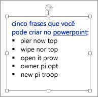 Formatando em uma caixa de texto do PowerPoint