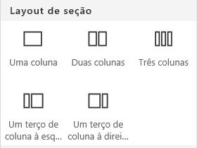 Captura de tela do menu de layout de seção no SharePoint.