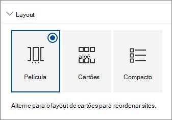 Configurações de layout de Web Part de sites