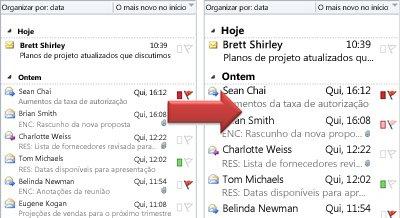 Ilustração do aumento do tamanho da fonte na lista de mensagens