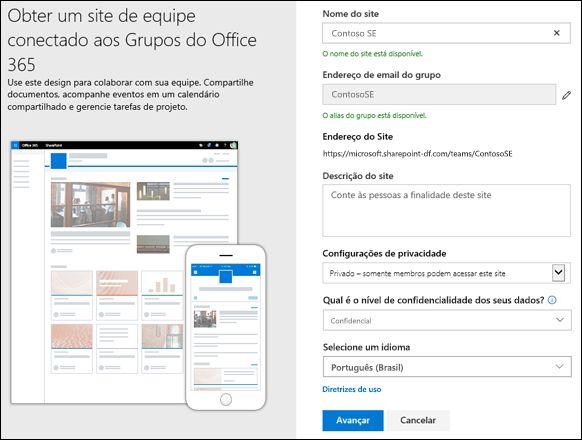 Criar um site de equipe do SharePoint