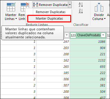 Power Query - Manter Duplicatas