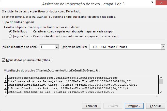 Obter Dados Externos do Texto do Excel, Assistente de Importação de Texto, Etapa 1 de 3