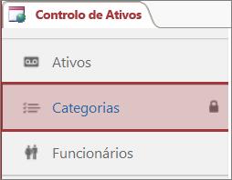 Ícone de bloqueado que aparece em uma tabela bloqueada no Access