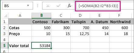 Uma fórmula de matriz típica