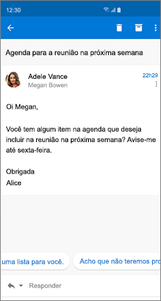 Mensagem de email com duas respostas sugeridas