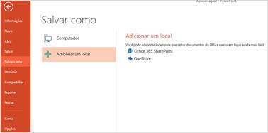 Adicionar o OneDrive como um local