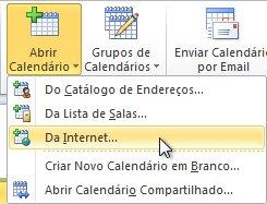 Comando Abrir calendário da Internet na faixa de opções