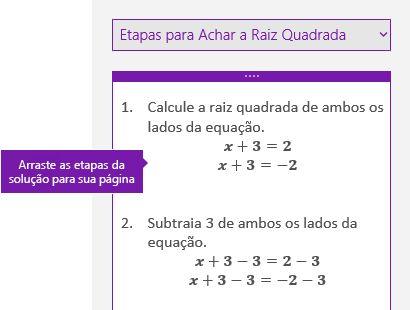 As etapas de solução no painel de tarefas de matemática