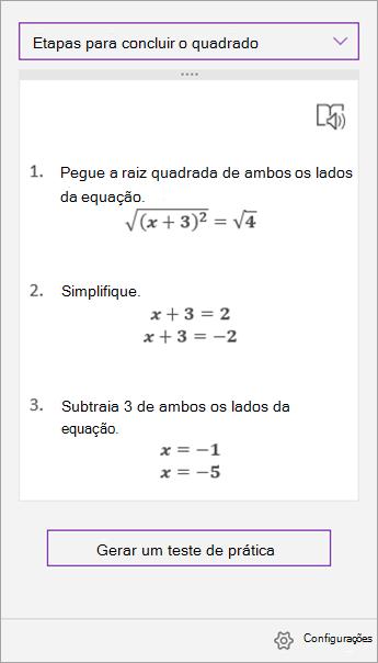 Etapas de solução no painel de tarefas assistente de matemática