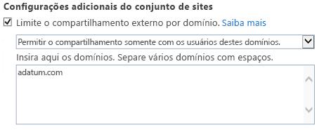 Captura de tela da parte de domínio restrito da caixa de diálogo Configurações do Conjunto de Sites.