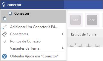 Captura de tela da ferramenta Diga-me o que você deseja fazer exibindo os resultados para Conectar-se.
