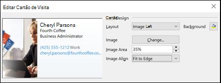 Você pode adicionar uma imagem ao seus cartões de visita eletrônicos.