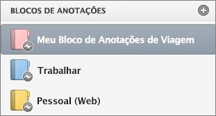 Status off-line da lista de blocos de anotações.
