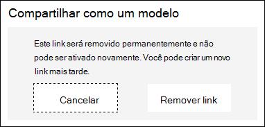Cancelar e Remover link botões exibidos.