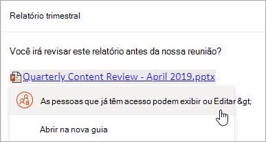 Uma captura de tela de um link para um arquivo do OneDrive