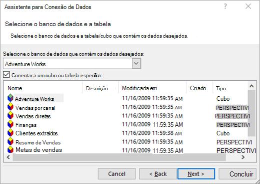 Tela do Assistente de Conexão de dados 2