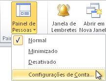 comando configurações de conta do painel de pessoas na faixa de opções