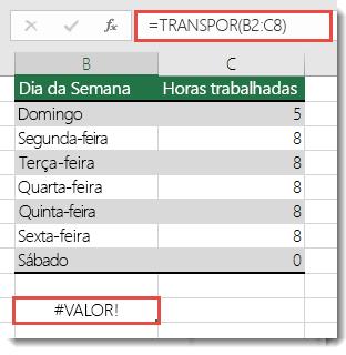 O erro #VALOR! em TRANSPOR