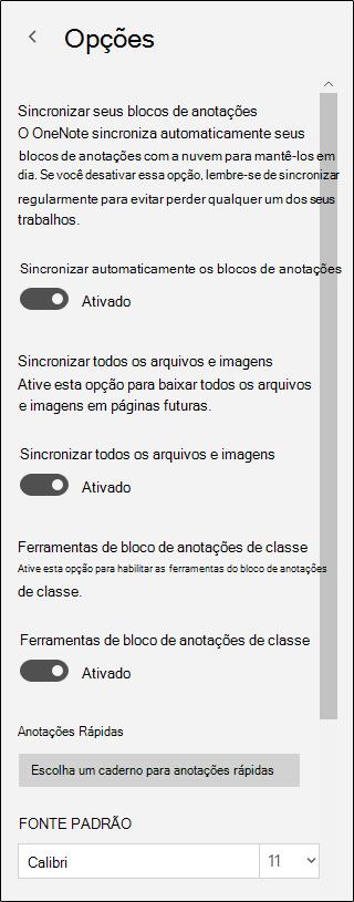 Opções para ferramentas de bloco de anotações de classe