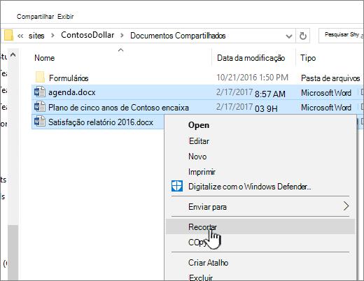 Clique com botão direito e selecione Recortar para mover um arquivo
