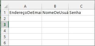 Títulos de célula no arquivo de migração do Excel.