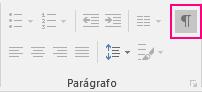 O ícone Mostrar/Ocultar é realçado na guia Página Inicial.