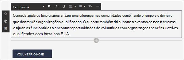 Opções de formatação para a Web Part de texto durante a edição de uma página moderna no SharePoint