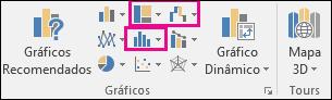 Ícones para inserir gráficos de hierarquia, cascata ou ações, ou gráficos estatísticos no Excel 2016 para Windows