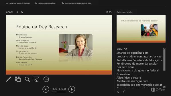 Modo de Exibição do Apresentador no PowerPoint 2016, com um círculo ao redor das Anotações do Orador