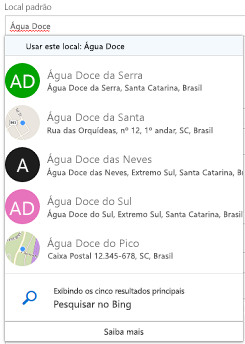 Locais sugeridos são oferecidas por meio do Bing