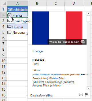 Célula com o registro vinculado para França; ícone de clique no cursor; cartão revelado