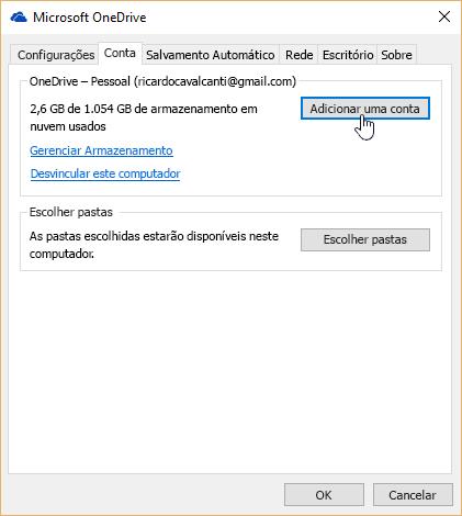 Na guia conta, em configurações do OneDrive.