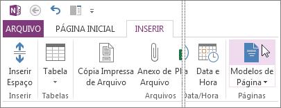 Clique no botão Modelos de página para visualizar e trabalhar com modelos.