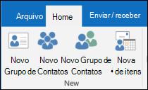 Selecione novo contato para criar um novo contato.