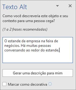 Caixa de diálogo Alt Text no Word para Windows