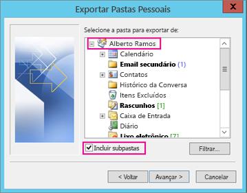 Escolha a conta de email que você deseja exportar.
