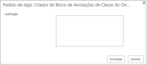 Captura de tela da caixa de diálogo de solicitação de aplicativo