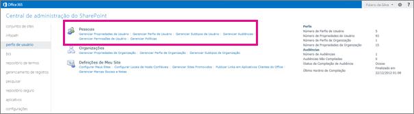 Uma captura de tela do Centro de Administração do SharePoint Online com a página de perfis de usuário selecionada.