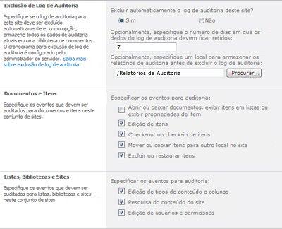 Página Definir Configurações de Auditoria