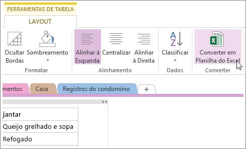 Converter uma página do OneNote em uma planilha do Excel