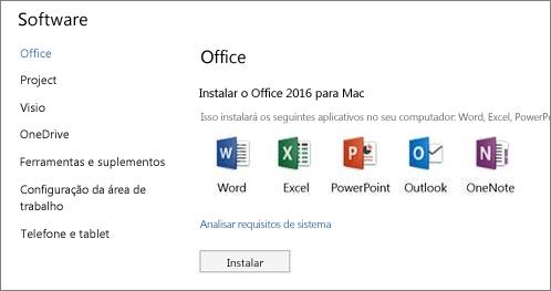 A tela do software de instalação de Configurações do Office 365 em um Mac