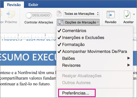 O menu Opções de Marcação com a opção Preferências realçada.