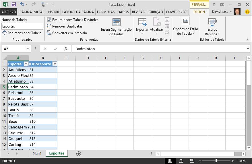 Nomear uma tabela no Excel