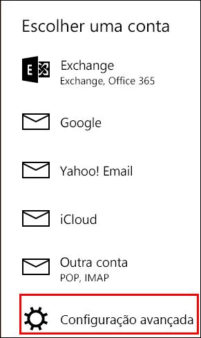 Configuração avançada no aplicativo Email