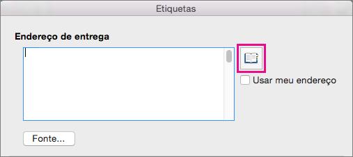 Clique no ícone Inserir endereço para selecionar um endereço da sua lista de contatos.