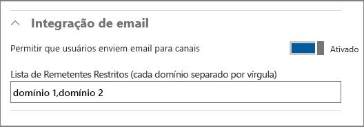 Integração de email