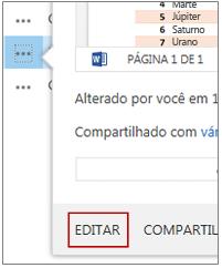 No menu Abrir, clique em Editar